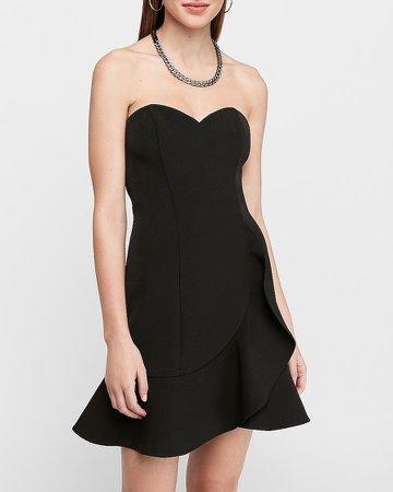 Strapless Sweetheart Ruffle Wrap Mini Dress