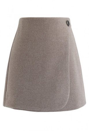 Button Decorated Flap Mini Skirt in Taupe - Skirt - BOTTOMS - Retro, Indie and Unique Fashion