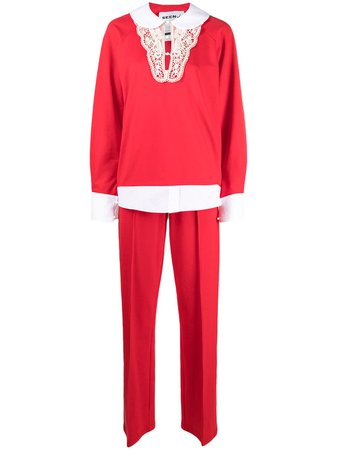 Shop red Seen Users two-piece tracksuit set with Express Delivery - Farfetch