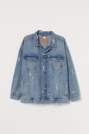 H&M+ Oversized Denim Jacket - Denim blue/trashed - Ladies   H&M US