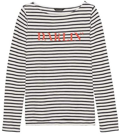 Slub Cotton-Modal Graphic Stripe T-Shirt