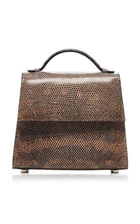 Small Brown Lizard Top Handle Bag