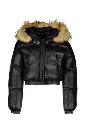 Petite Cropped Padded Jacket black