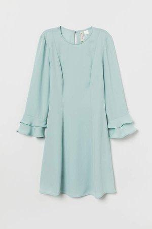 Flounce-sleeved Dress - Turquoise