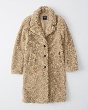 Womens Sherpa Dad Coat | Womens Coats & Jackets | Abercrombie.com