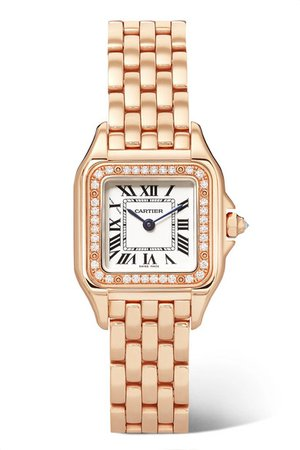 Cartier | Panthère de Cartier 22mm small 18-karat pink gold diamond watch | NET-A-PORTER.COM