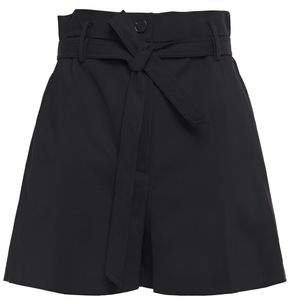 Tie-front Cotton-blend Shorts