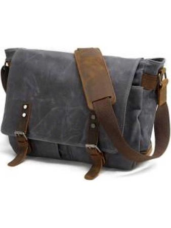 Navy Distressed Canvas Messenger Bag