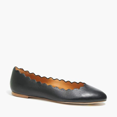 Leather scalloped ballet flats