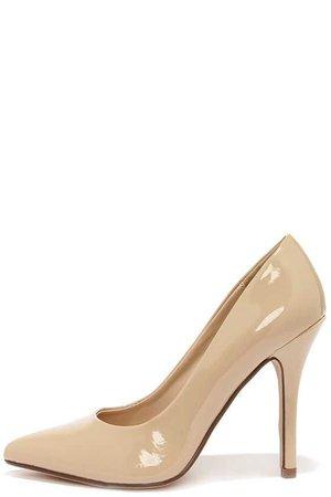 Pretty Beige Pumps - Beige Shoes - Pointed Pumps - Nude Pumps - $22.00