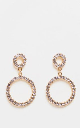 Gold Diamante Double Ring Drop Earrings - Earrings - Jewellery - Accessories | PrettyLittleThing