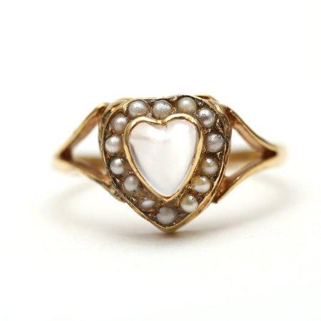 10k Victorian Moonstone Heart Ring   Etsy