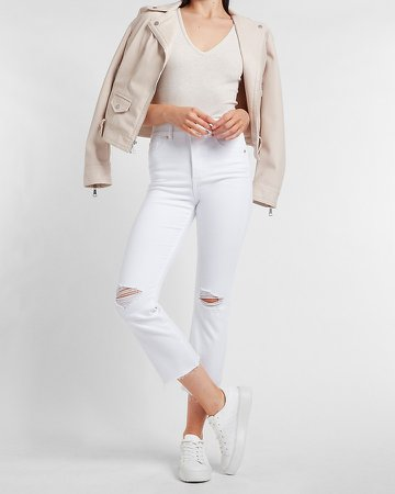 High Waisted White Ripped Raw Hem Cropped Flare Jeans