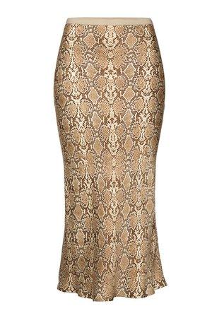 Anine Bing - Bar Snakeskin Printed Silk Midi Skirt - animal print