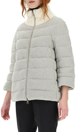 Metallic Knit Down Puffer Jacket