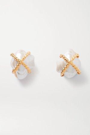 Gold Gold-tone faux pearl clip earrings | Kenneth Jay Lane | NET-A-PORTER