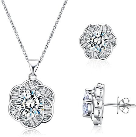 Amazon.com: Cubic Zirconia CZ Birthstone Solitaire Pendant Necklace & Earings for Women Crown Set (B-Sliver): Clothing