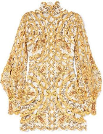 Zippy Cutout Embroidered Printed Silk And Linen-blend Dress - Gold
