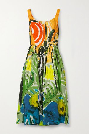 Green Gathered printed cotton-poplin midi dress   Marni   NET-A-PORTER