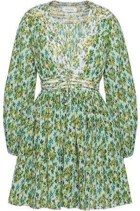 Golden Pintucked Floral-print Plisse Mini Dress