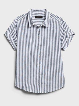 Cotton Gauze Roll-Cuff Shirt | Banana Republic