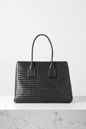 Small Intrecciato Leather Tote - Black