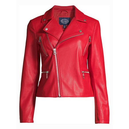 Scoop - Scoop Women's Faux Leather Moto Jacket - Walmart.com - Walmart.com red