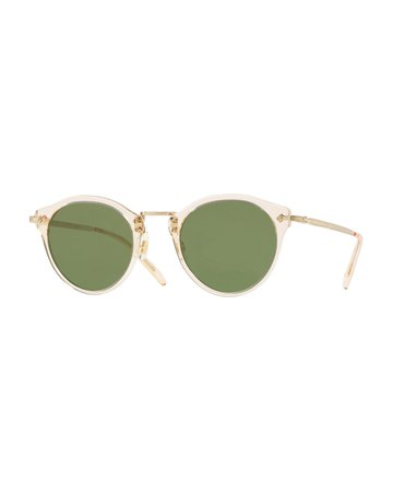 Oliver Peoples Semitransparent Acetate & Metal Round Sunglasses | Neiman Marcus