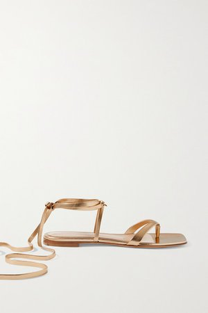 Lace-up Leather Sandals - Gold