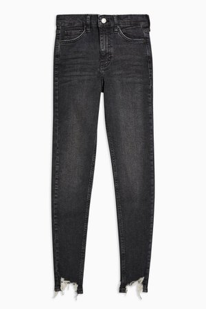 Washed Black Jagged Hem Jamie Jeans | Topshop