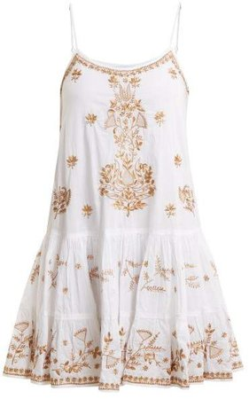 Embroidered Cotton Dress - Womens - White Multi
