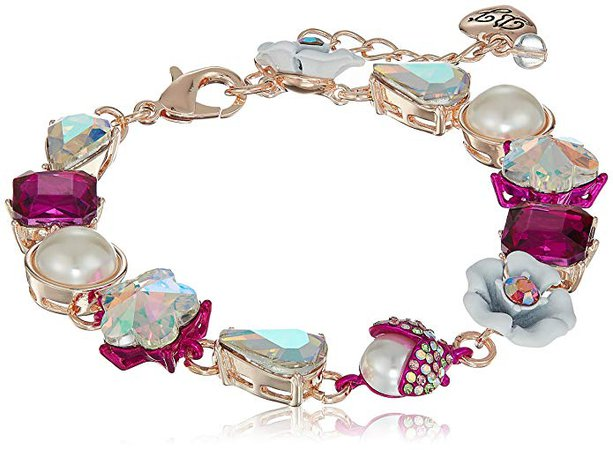 Amazon.com: Betsey Johnson Stone and White Flower Link Bracelet, Pink, One Size: Gateway