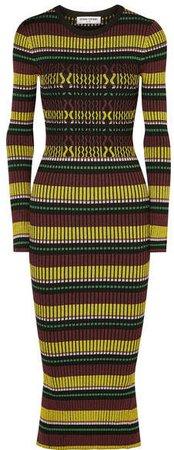 Striped Ribbed-knit Maxi Dress - Black