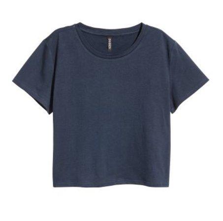 Grey-Blue Crop Top