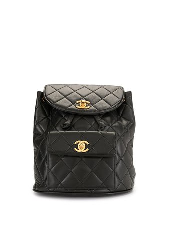 Chanel Pre-Owned Diamond Quilted CC Backpack - Farfetch