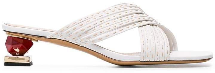white Castana 35 crossover stack heel leather sandals