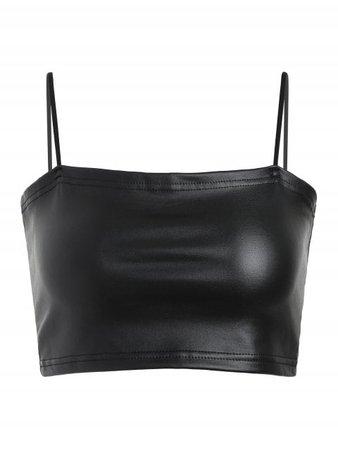 [HOT] 2019 Faux Leather Cami Crop Top In BLACK M   ZAFUL