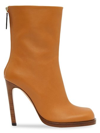 Burberry Square-Toe Leather Boots | SaksFifthAvenue
