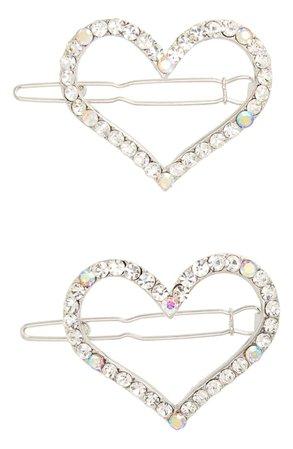Tasha 2-Pack Heart Crystal Hair Clips