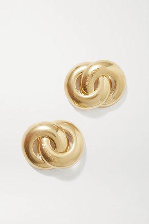 Gold Twin gold-tone earrings | Balenciaga | NET-A-PORTER