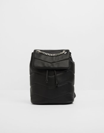 Quilted backpack with chain - New - Woman | Bershka