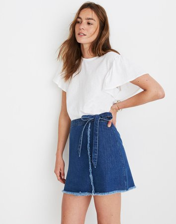 Raw-Hem Mini Wrap Skirt in Cardiff Wash