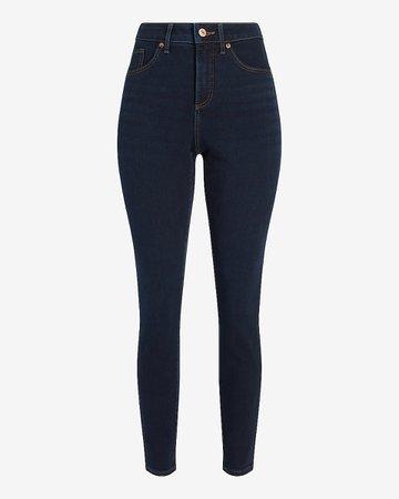 High Waisted Dark Wash Curvy Skinny Jeans | Express