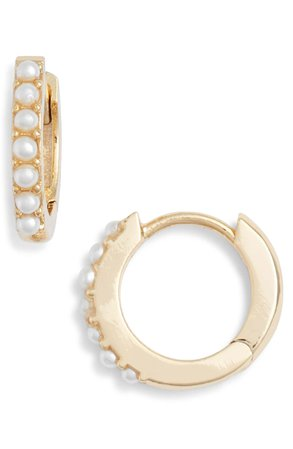 Estella Bartlett Mother of Pearl Huggie Hoop Earrings | Nordstrom
