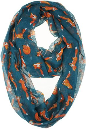 VIVIAN & VINCENT Women Soft Light Weight Cartoon Fox Sheer Infinity Scarf (SteelBlue) at Amazon Women's Clothing store