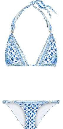 Salvador Summer Ball Embellished Floral-print Triangle Bikini
