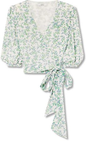 Tilden Cropped Floral-print Mesh Wrap Top - Off-white