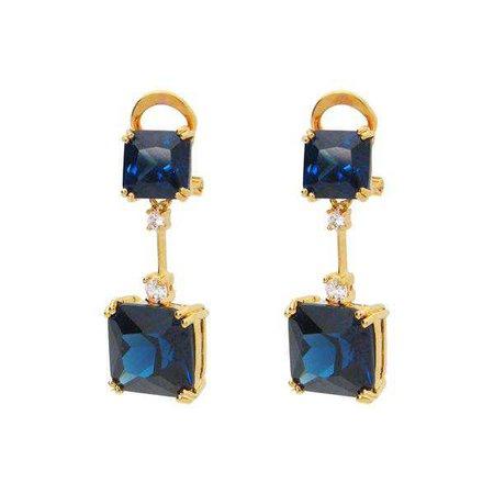 Earrings | Shop Women's Art Deco Sapphire Cz Silhouette Earrings at Fashiontage | 3G5149S