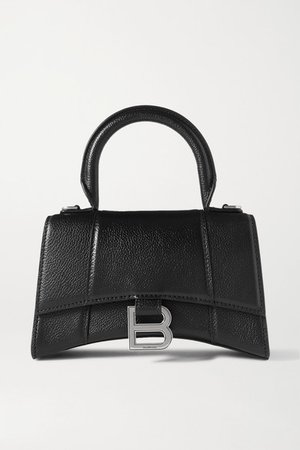Hourglass Xs Textured-leather Tote - Black