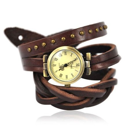 Dark Brown Leather Band Watch | RebelsMarket